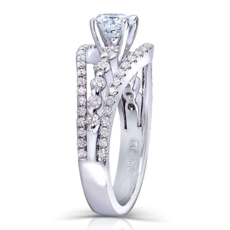 Kobelli 3-row Split Shank Diamond Engagement Ring 1 1/6 Carat (ctw) in 14k White Gold