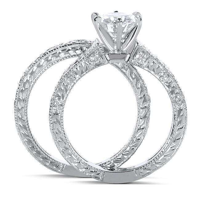 Kobelli Round-cut Moissanite Bridal Set with Diamond 1 1/4 CTW 14k White Gold