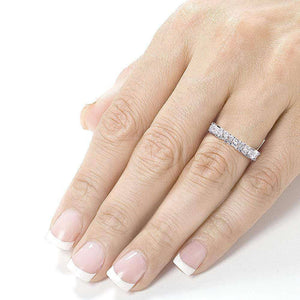 Princess-cut and Baguette Diamond Band 3/4 Carat (ctw) in 14k White Gold