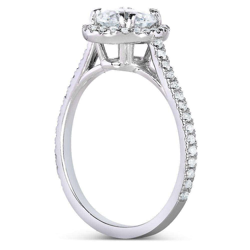 Kobelli Round-cut Halo Diamond Bridal Ring Set 1 1/2 Carat (ctw) in 14k White Gold