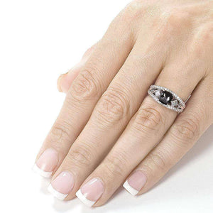 Art Deco Cushion Black and White Diamond Ring 1 3/4 CTW in 18k White Gold