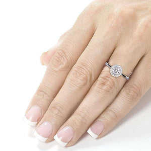 Round Bezel Diamond and Halo Engagement Ring 1/2 Carat (ctw) in 14k White Gold