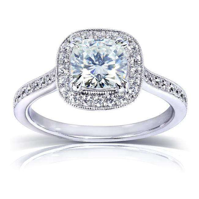 Kobelli Cushion-cut Moissanite Engagement Ring with Halo Diamond 1 1/2 CTW 14k White Gold