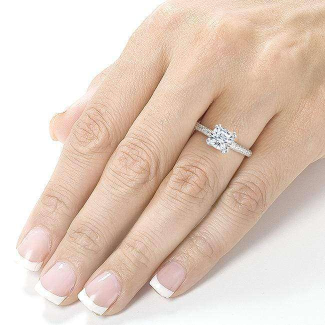 Kobelli Cushion-cut Moissanite Engagement Ring with Micro-Pave Diamond 1 1/3 CTW 14k White Gold