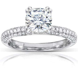 Kobelli Forever One (D-F) Moissanite and Micro-PaveDiamond Engagement Ring 2 1/4 CTW 14k White Gold