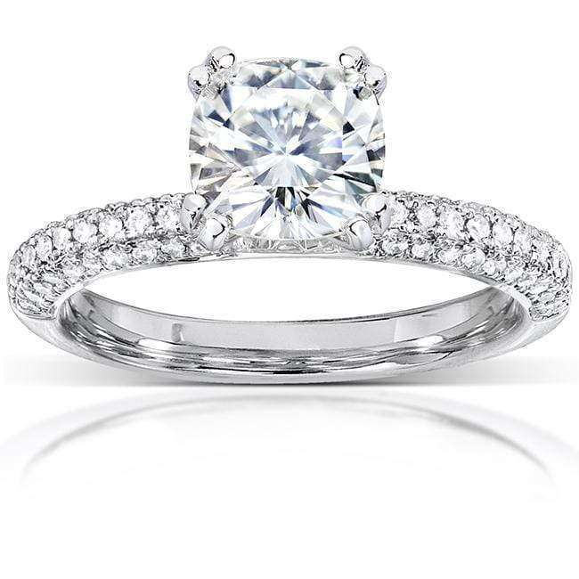 Cheap Near-Colorless (F-G) Moissanite Engagement Ring with Micro-Pave Diamond 2 1/4 CTW 14k White Gold - 6.5