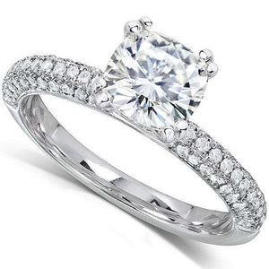 Near-Colorless (F-G) Moissanite Engagement Ring with Micro-Pave Diamond 2 1/4 CTW 14k White Gold