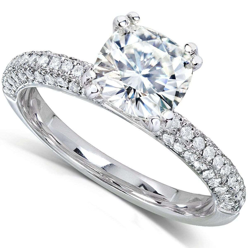 Kobelli Near-Colorless (F-G) Moissanite Engagement Ring with Micro-Pave Diamond 3 CTW 14k White Gold