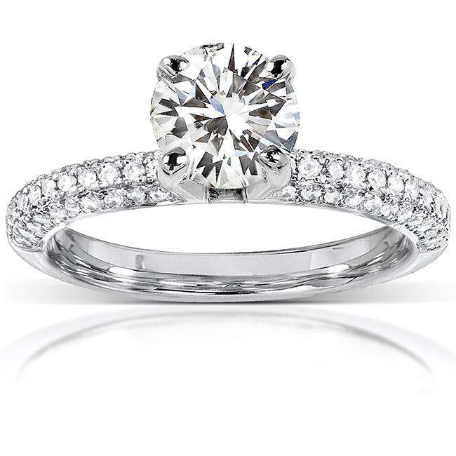 Round Moissanite Engagement Ring with Micro-Pave Diamond 14k White Gold (7.5mm)