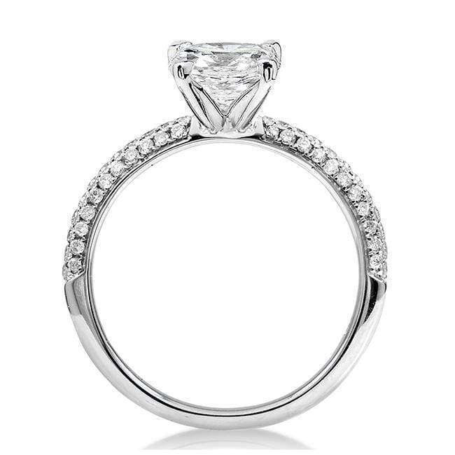 Kobelli Round Moissanite Engagement Ring with Micro-Pave Diamond 14k White Gold (6.5mm)