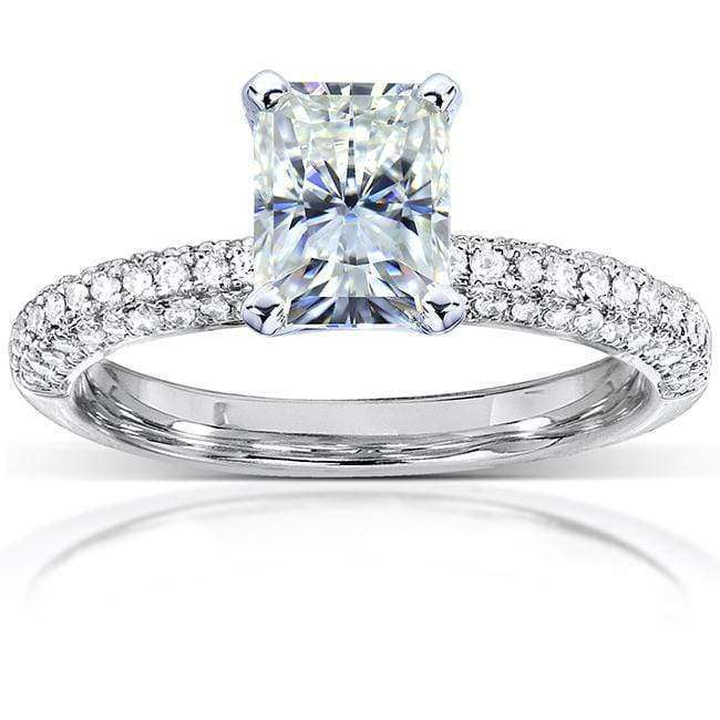 Kobelli Radiant-cut Moissanite Engagement Ring with Micro-Pave Diamond 1 1/2 CTW 14k White Gold