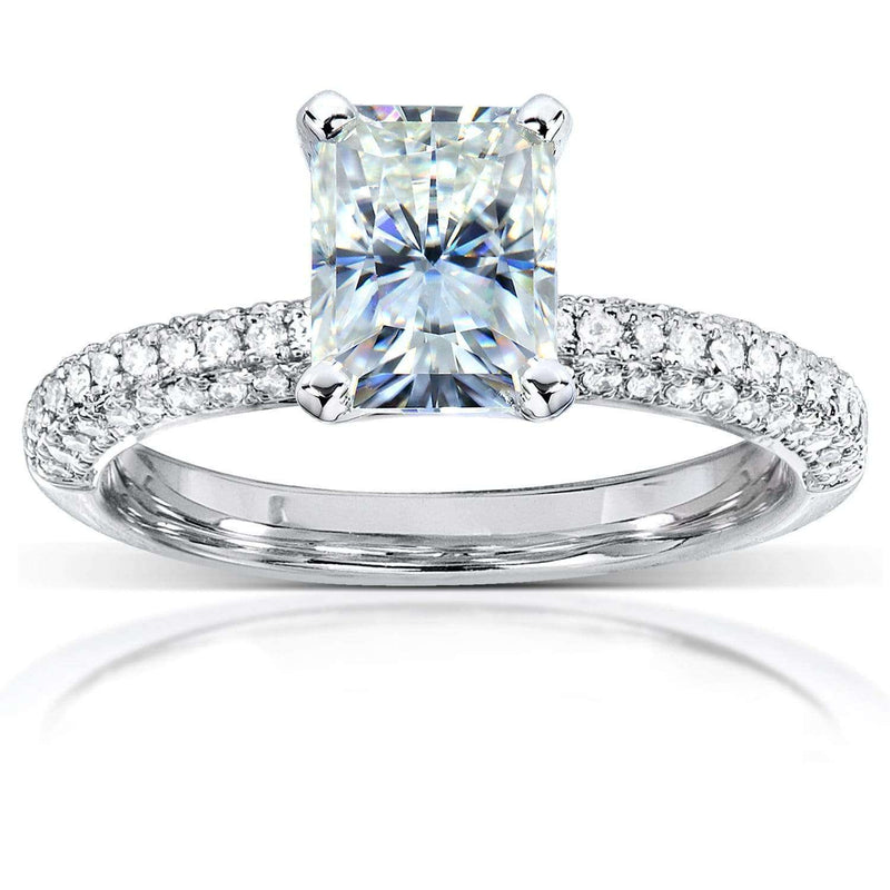 Kobelli Radiant-cut Moissanite Engagement Ring with Micro-Pave Diamond 2 CTW 14k White Gold