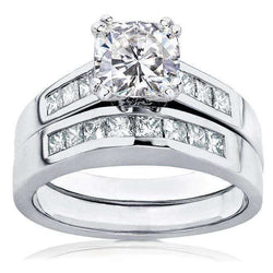 Kobelli Cushion-cut Moissanite Bridal Set with Diamond Ring 1 3/4 CTW 14k White Gold