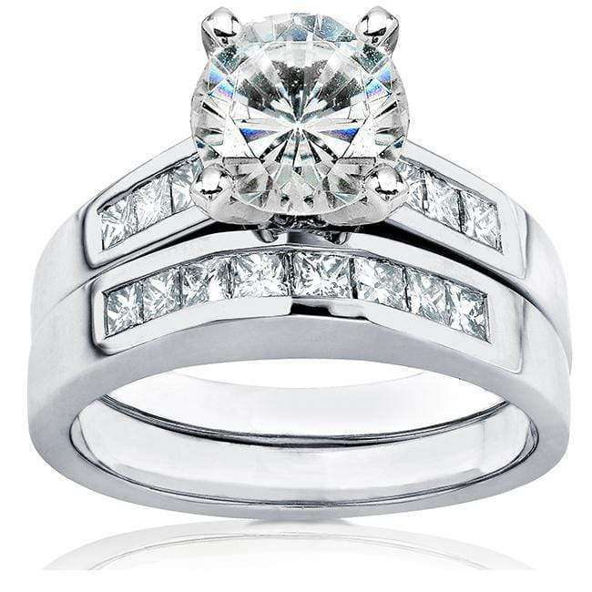 Kobelli Round Moissanite Bridal Set with Diamond 2 1/10 CTW 14k White Gold