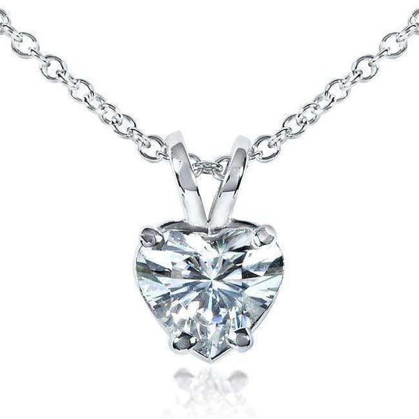 Kobelli Heart Shape Near-Colorless (F-G) Moissanite Solitaire Necklace 14K White Gold MZFB61092H-100