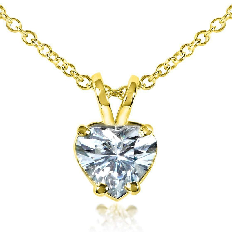 Heart Shape Moissanite Solitaire Necklace 14K Yellow Gold