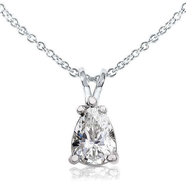 Kobelli Pear Shape Moissanite Solitaire Pendant 1 1/2 CTW 14k White Gold MZ61092PS-150