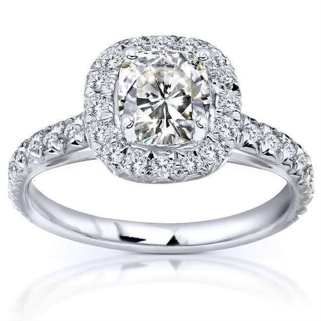 Top Cushion Cut Moissanite Engagement Ring with Halo Diamond 1 1/2 CTW 14k White Gold - 4