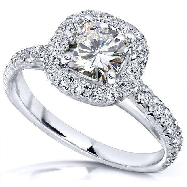 Kobelli Near-Colorless (F-G) Moissanite Engagement Ring with Diamond 1 1/2 CTW 14k Gold