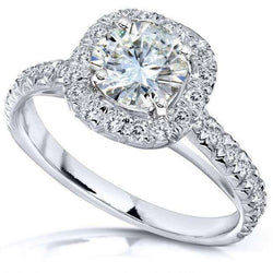 Kobelli Round Moissanite Squarish Halo Ring (1-2/5 CTW)