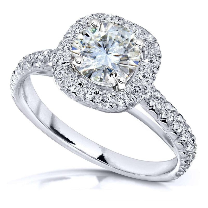 Kobelli Near-Colorless (F-G) Moissanite and Diamond Halo Engagement Ring 1 2/5ct TW in 14k White Gold