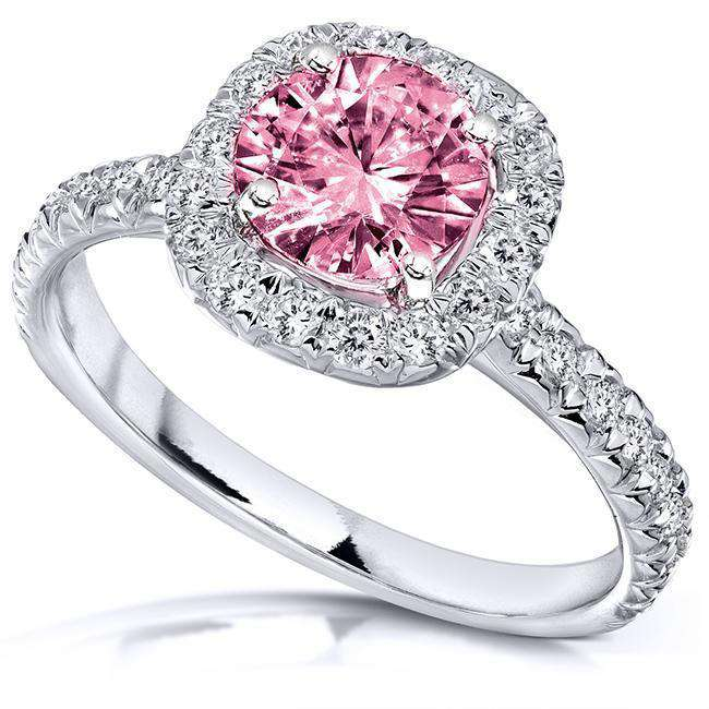 Pink Round-cut Moissanite Engagement Ring with Diamond 1 2/5 CTW 14k Gold