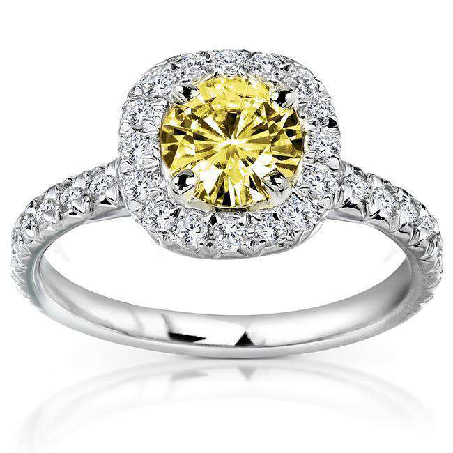 Yellow Round-cut Moissanite and Diamond Engagement Ring 1 2/5 Carat (ctw) in 14k Gold