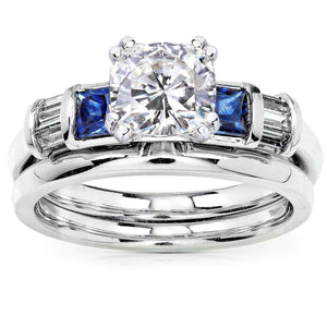 Kobelli Cushion Moissanite Bridal Set with Sapphire and Diamond 1 1/2 CTW 18k White Gold