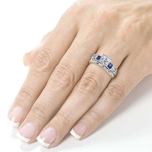 Kobelli Forever One (D-F) Moissanite Sapphire Bridal Set with Diamond 1 1/2 CTW 14k White Gold