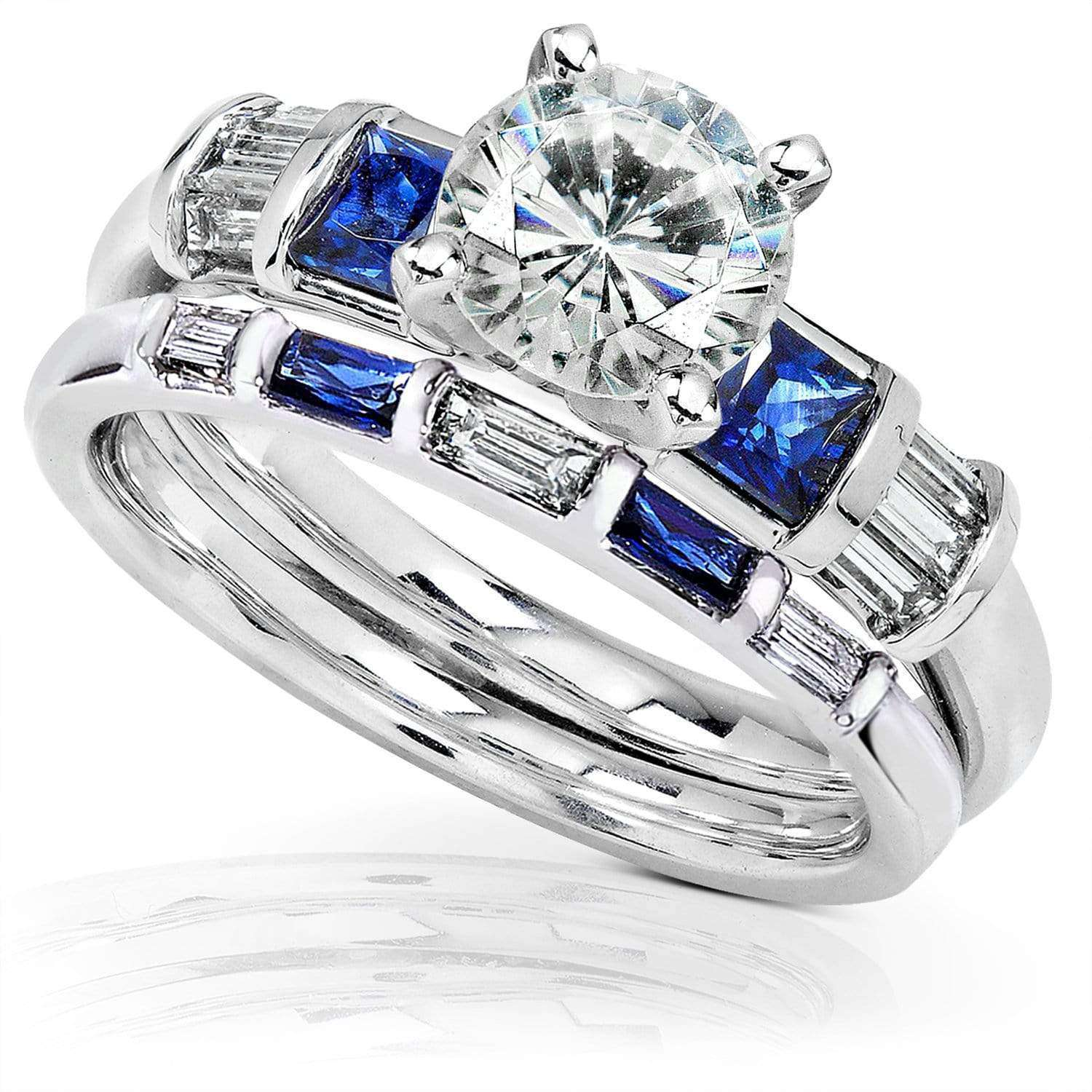 Top Round Moissanite Bridal Set with Sapphire and Diamond 2 1/4 CTW 14k White Gold - 6.5