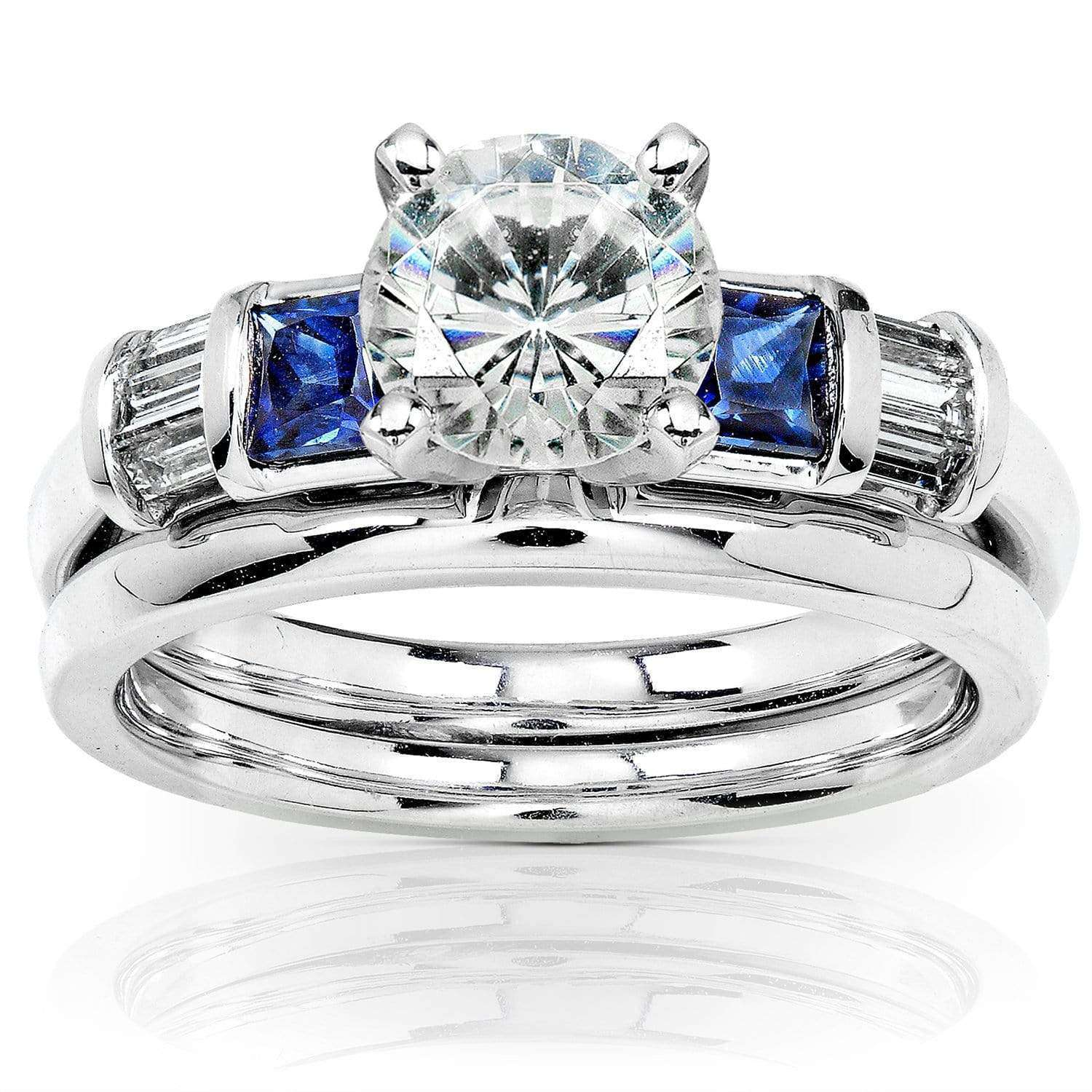 Coupons Round Moissanite Bridal Set with Sapphire and Diamond 2 CTW 14k White Gold - 8.5
