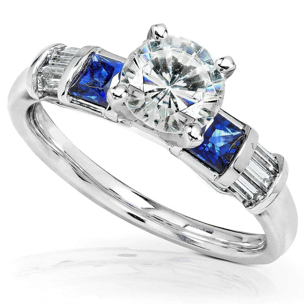 Kobelli Round Moissanite Engagement Ring with Sapphire and Diamond 1 1/2 CTW 14k White Gold