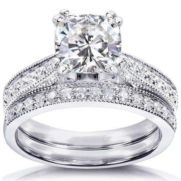1.1ct Forever One Moissanite Vintage Milgrain Bridal Set