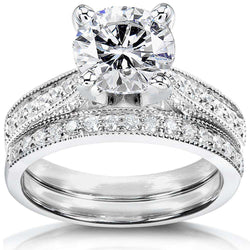 Near-Colorless (F-G) Moissanite Bridal Set with Diamond 2 1/3 CTW Platinum
