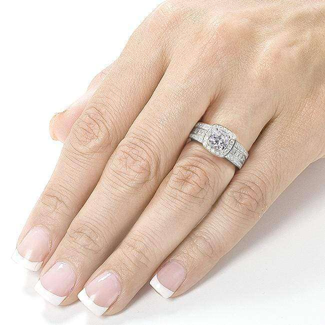 Kobelli Forever One (D-F) Moissanite Engagement Ring with Diamond 2 1/10 CTW 14k White Gold