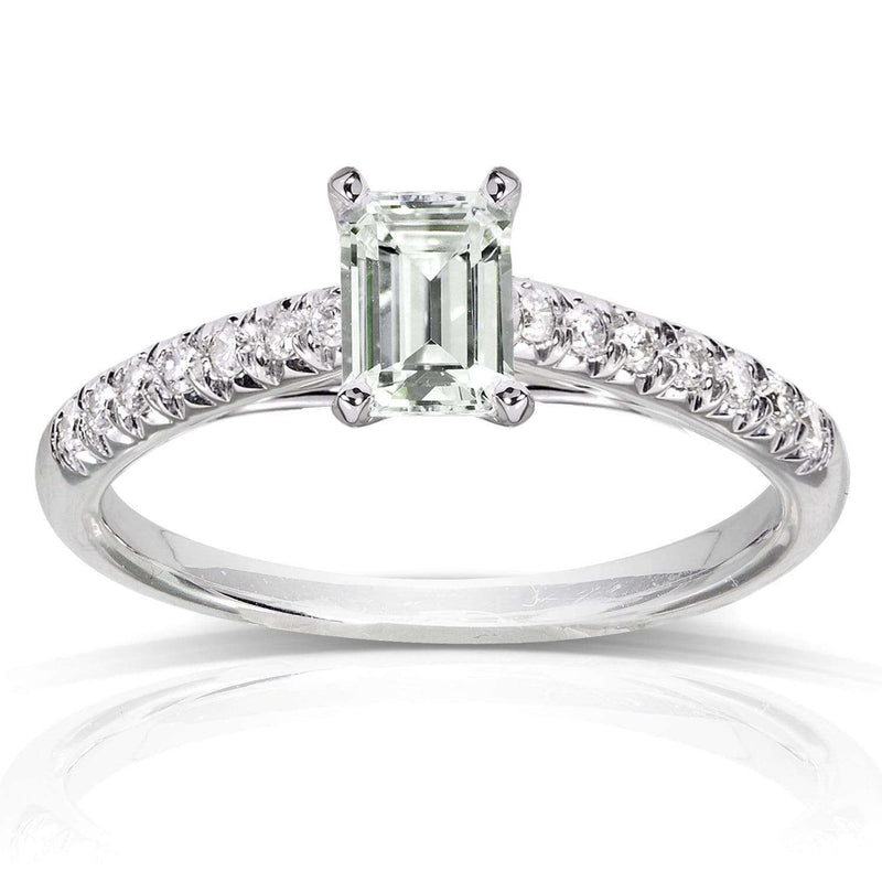 Kobelli Emerald Cut-Moissanite Engagement Ring with Diamond 3/4 CTW 14k White Gold