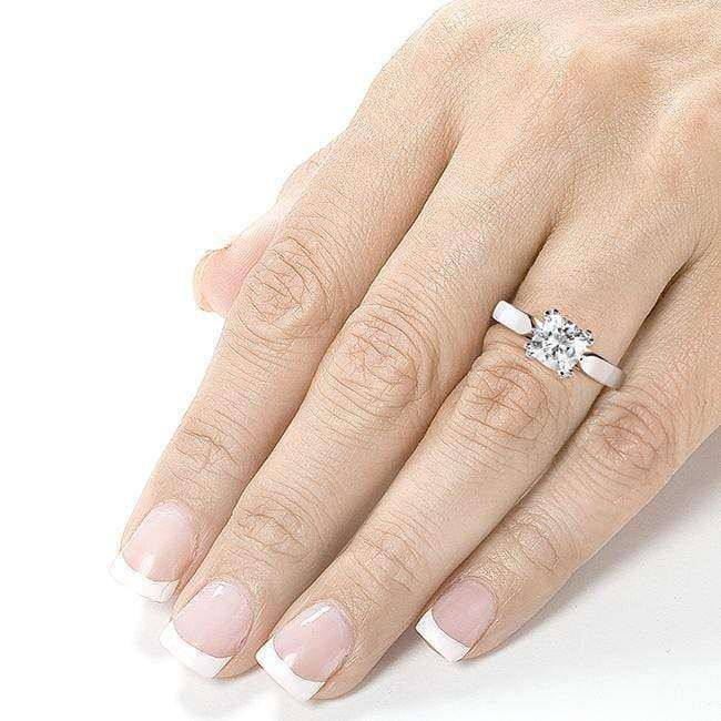 Kobelli Forever One (D-F) Colorless Moissanite Solitaire Ring 1 1/10 Carat 14k White Gold