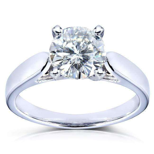 Promos Round Moissanite Solitaire Engagement Ring 1 1/2 CTW 14k White Gold - 5