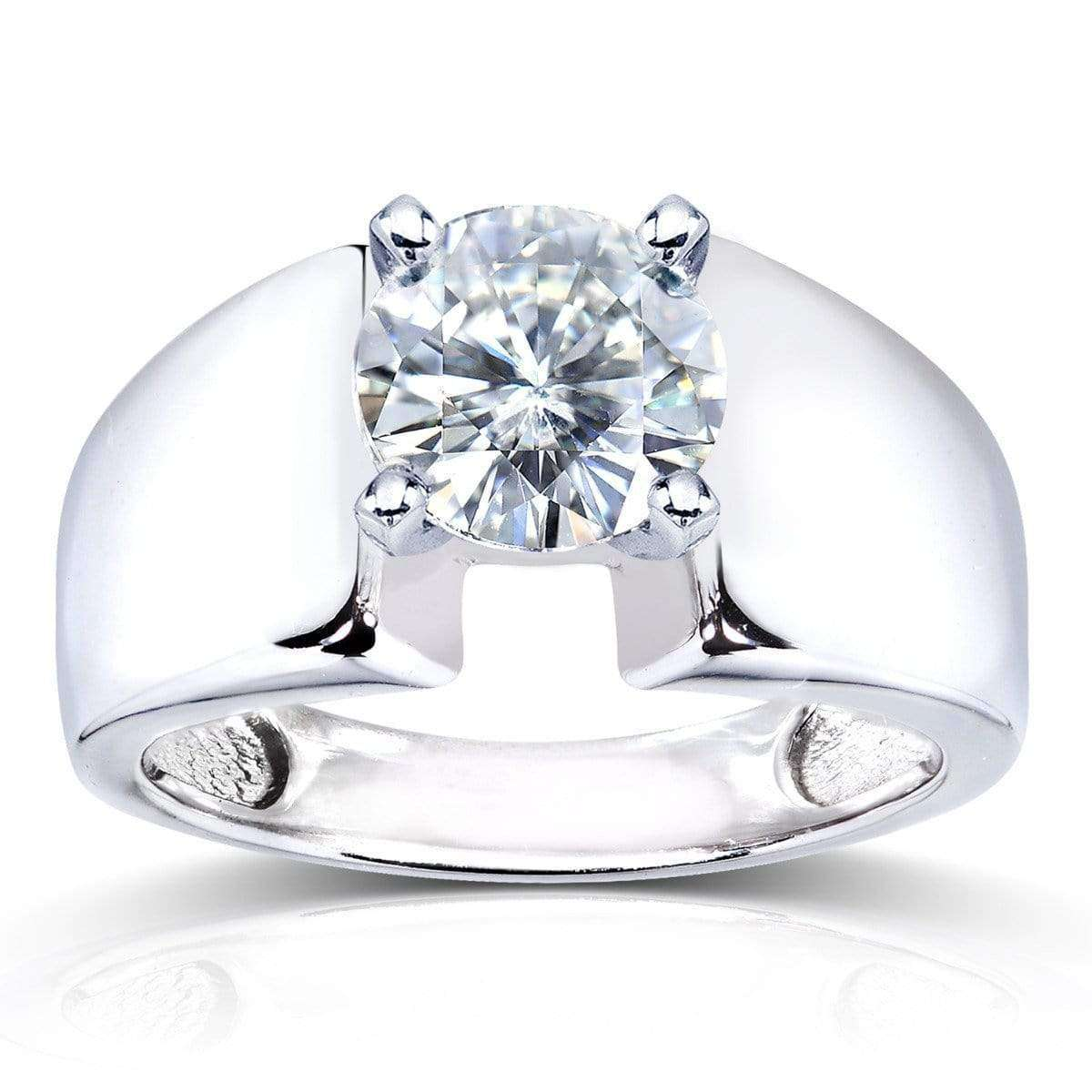 Coupons Round Moissanite Solitaire Engagement Ring 1 1/2 CTW 14k White Gold - 7