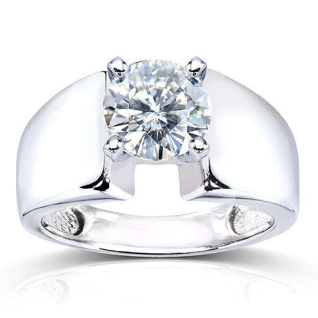 Promos Round Moissanite Solitaire Engagement Ring 1 1/2 CTW 14k White Gold - 8.5