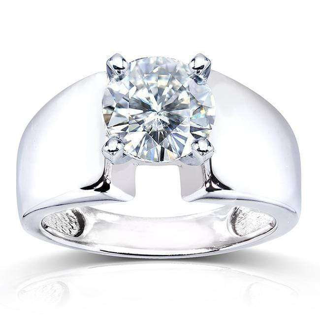 Cheap Round Moissanite Solitaire Engagement Ring 2 CTW 14k White Gold - 4.5
