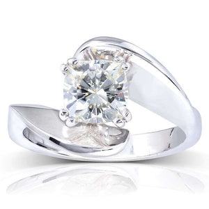 Kobelli Forever One (D-F) Moissanite Solitaire Curve Ring 1 1/10 CTW 14k White Gold