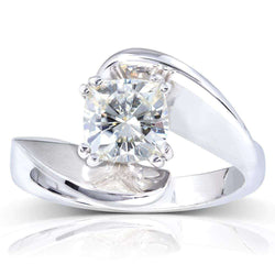 Kobelli Cushion-Cut Moissanite Solitaire Curve Ring 1 1/10 CTW 14k White Gold