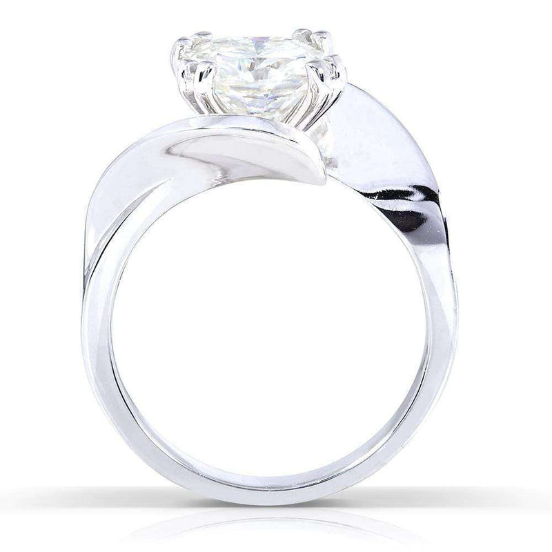 Kobelli Cushion-Cut Moissanite Solitaire Curve Ring 2 CTW 14k White Gold