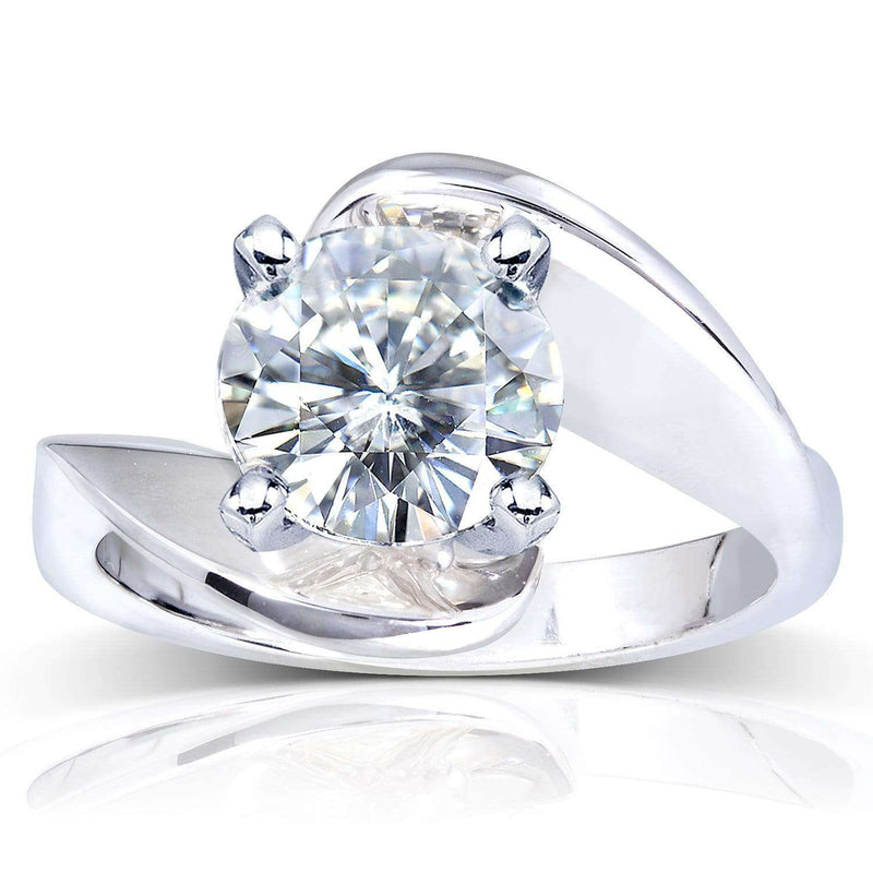 Kobelli Near-Colorless (F-G) Moissanite Solitaire Curve Ring 2 3/4 CTW 14k White Gold