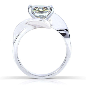 Kobelli Moissanite Solitaire Curve Ring 2 3/4 CTW 14k White Gold