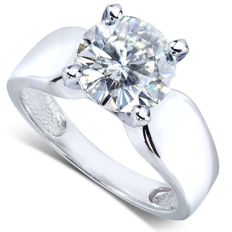 Kobelli Round Moissanite Solitaire Engagement Ring 3 CTW 14k White Gold
