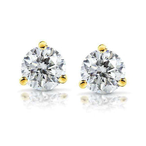 Near-Colorless (F-G) 3 4/5 CTW Round Moissanite Stud Earrings in 14K White or Yellow Gold (8mm)