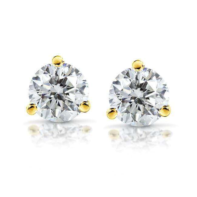 Kobelli Near-Colorless (F-G) 3 4/5 CTW Round Moissanite Stud Earrings in 14K White or Yellow Gold (8mm)