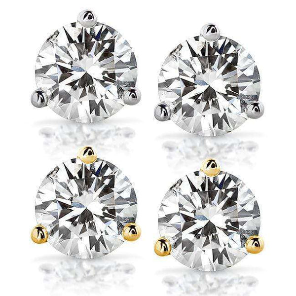 Kobelli Near-Colorless (F-G) 2 CTW Round Moissanite Stud Earrings in 14K White or Yellow Gold (6.5mm)